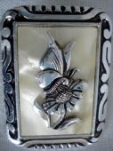 Aluminium Scarf Clip 1950's with Pearly Lucite Panel and Butterfly on Flower Design (SOLD)
